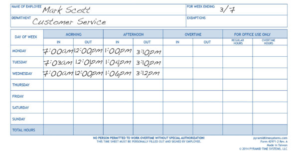 Weekly Time Sheet Pads   2Pk   Time Clocks, Time Clock Systems Inside Timesheet Clock