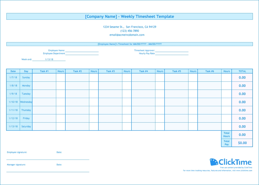 Weekly Timesheet Template | Free Excel Timesheets | Clicktime Intended For Employee Time Tracking Spreadsheet