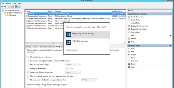 "Windows Task Scheduler   Open Excel File ""how Do You Want To Open To How Do You Do Spreadsheets"