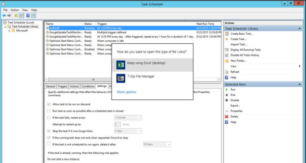 """Windows Task Scheduler   Open Excel File """"how Do You Want To Open To How Do You Do Spreadsheets"""