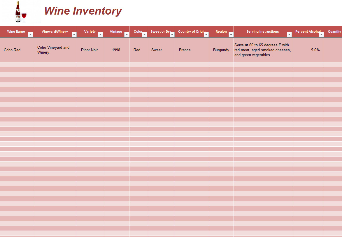 Wine Inventory Template Archives   Southbay Robot Within Wine Cellar Inventory Spreadsheet
