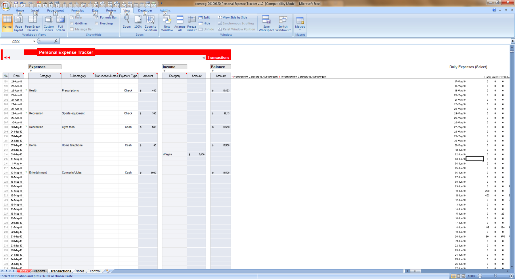 Winner Of Excel Expense Tracker Contest   Romeog » Chandoo And Excel Expense Tracker