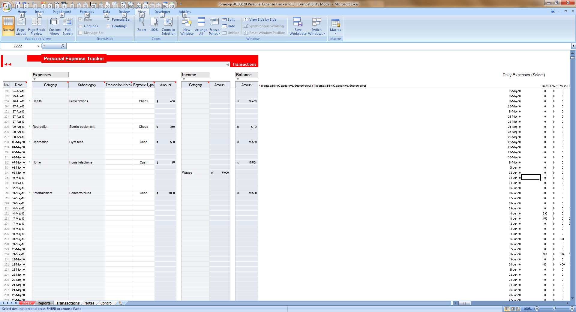 Winner Of Excel Expense Tracker Contest - Romeog » Chandoo And Excel Expense Tracker