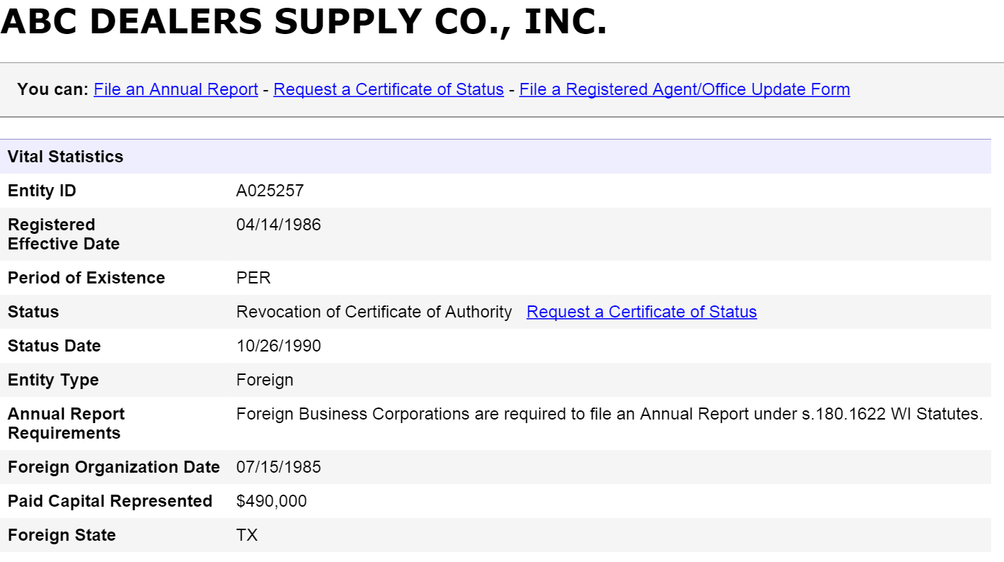 Wisconsin Business Entity And Corporation Search   Wi Secretary Of Inside Hawaii Corporation Search
