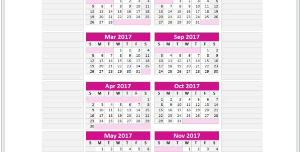 Year 2017 Excel Calendar Template   Monthly Calendar Spreadsheet For Excel Spreadsheet Software