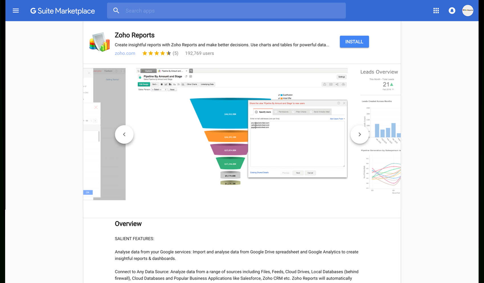Zoho Reports For Google Apps Inside App For Spreadsheet