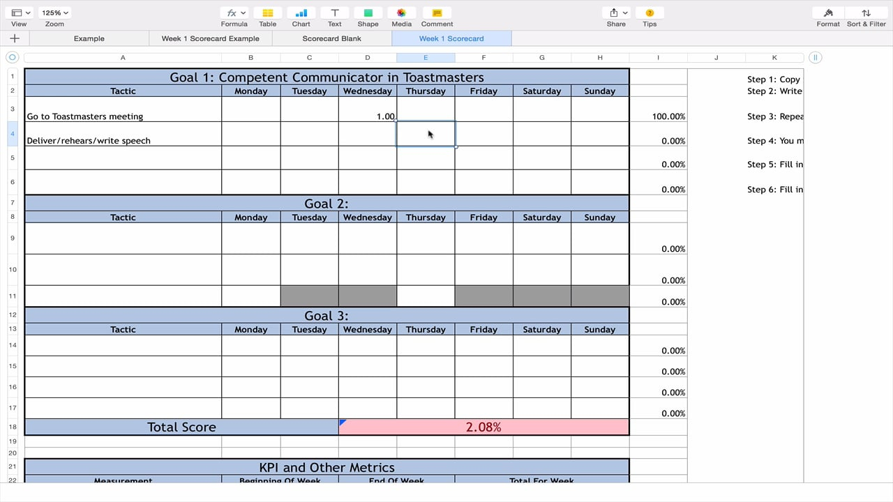 12 Week Year Spreadsheet For How To Use The 12 Week Year Excel Scorecard On Vimeo