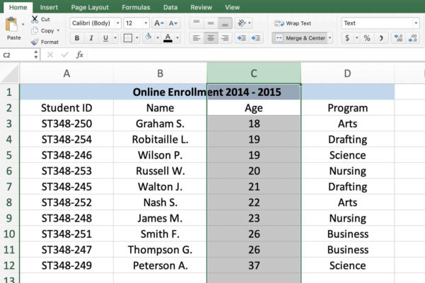 13 Column Spreadsheet Inside Excel Shortcuts To Select Rows, Columns, Or Worksheets