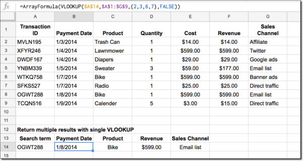 13 Column Spreadsheet Inside How To Return Multiple Columns With Vlookup Function In Google Sheets