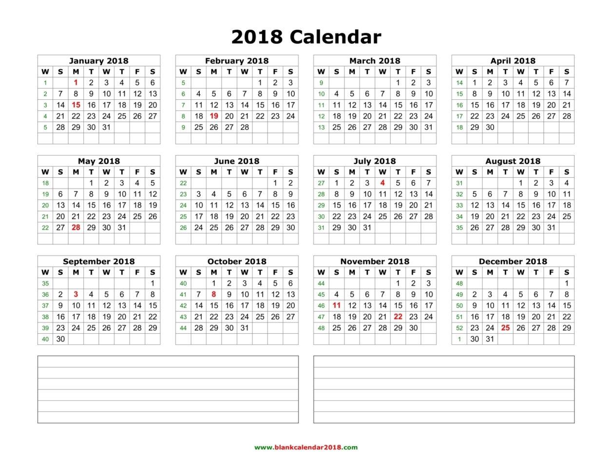 2018 Calendar Spreadsheet For Blank Calendar 2018