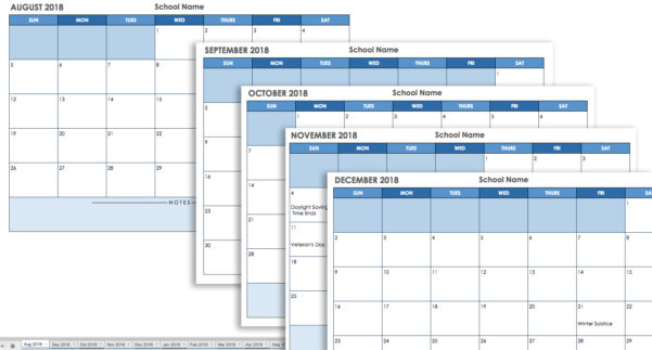 2018 Calendar Spreadsheet Google Sheets With 15 Free Monthly Calendar Templates  Smartsheet December 2018