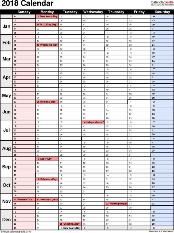 2018 Calendar Spreadsheet Inside 2018 Calendar  Download 17 Free Printable Excel Templates .xlsx