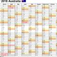 2018 Calendar Spreadsheet Intended For Australia Calendar 2018  Free Printable Excel Templates