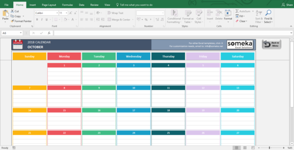 2018 Calendar Spreadsheet Intended For Excel Calendar Templates  Download Free Printable Excel Template