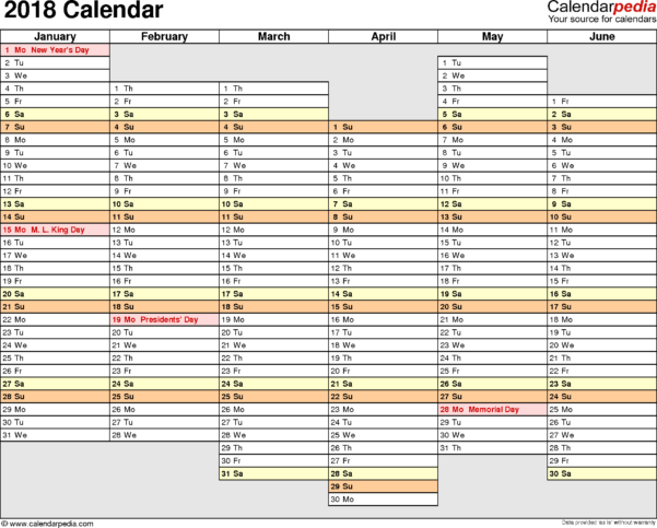 2018 Calendar Spreadsheet Pertaining To 2018 Calendar  Download 17 Free Printable Excel Templates .xlsx