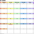 2018 Calendar Spreadsheet Throughout December 2018 Calendars For Word, Excel  Pdf