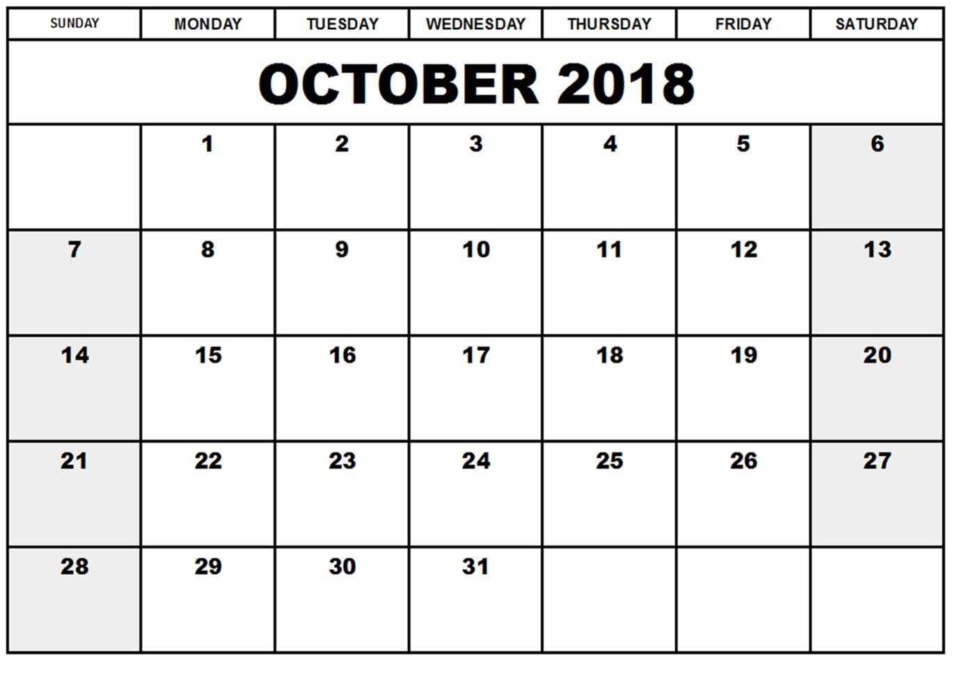2018 Calendar Spreadsheet Throughout Free October 2018 Editable Printable Calendar Templates  Public