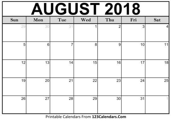 2018 Calendar Spreadsheet Throughout Printable August 2018 Calendar Templates  123Calendars