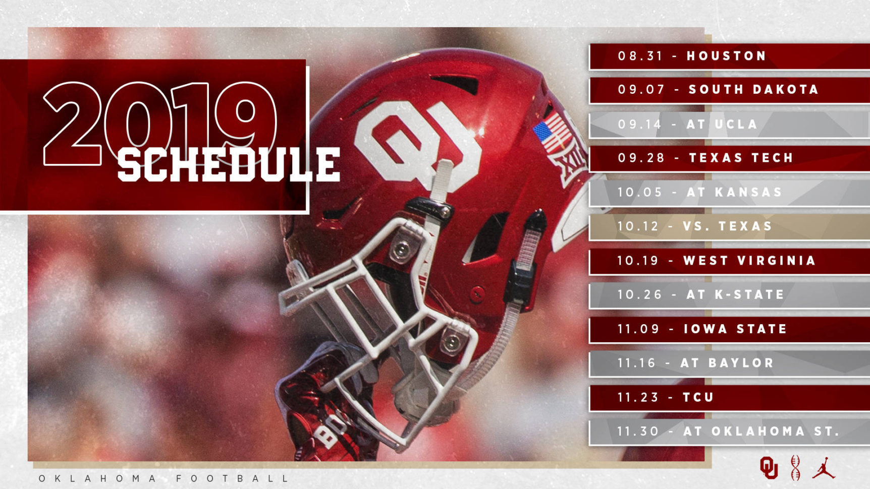 2018 College Football Schedule Excel Spreadsheet With 2019 Ou Football Schedule Announced  The Official Site Of Oklahoma
