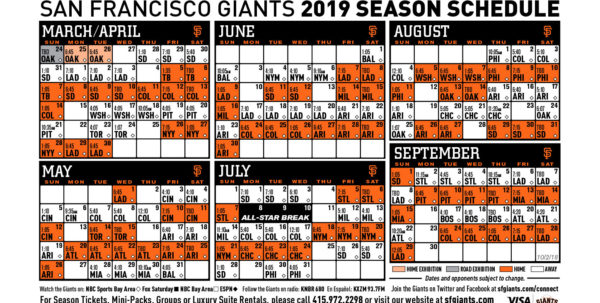 2018 Mlb Schedule Spreadsheet In Giants 2019 Printable Schedule  San Francisco Giants