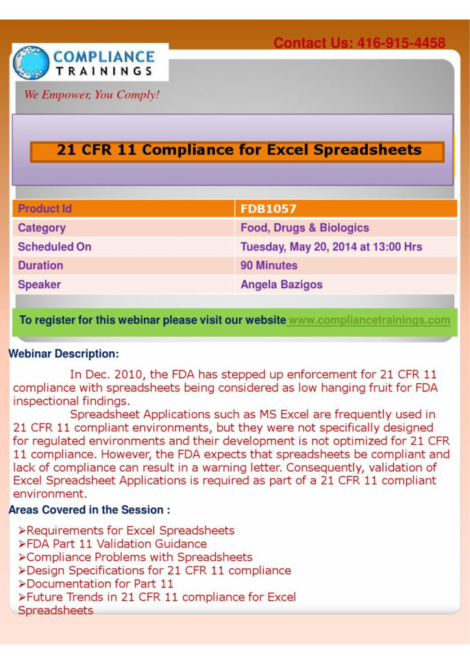 21 Cfr Part 11 Compliance For Excel Spreadsheets Intended For Webinar On 21 Cfr 11 Compliance For Excel Spreadsheetssuzzane D