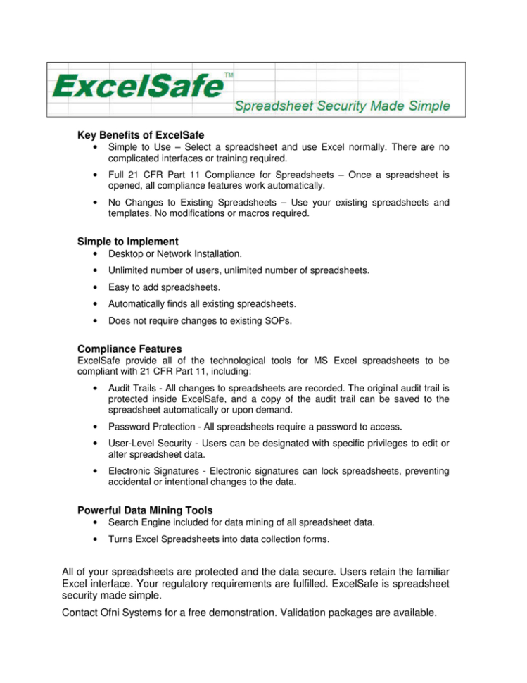 21 Cfr Part 11 Compliance For Excel Spreadsheets With Key Benefits Of Excelsafe Simple To Implement Compliance