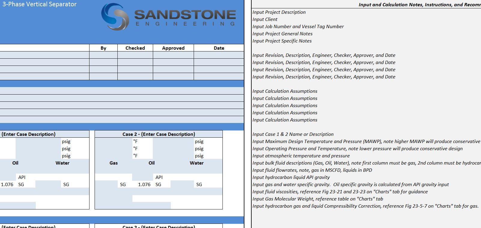 3 Phase Separator Sizing Spreadsheet Pertaining To Sandstone Engineering  Separator Software