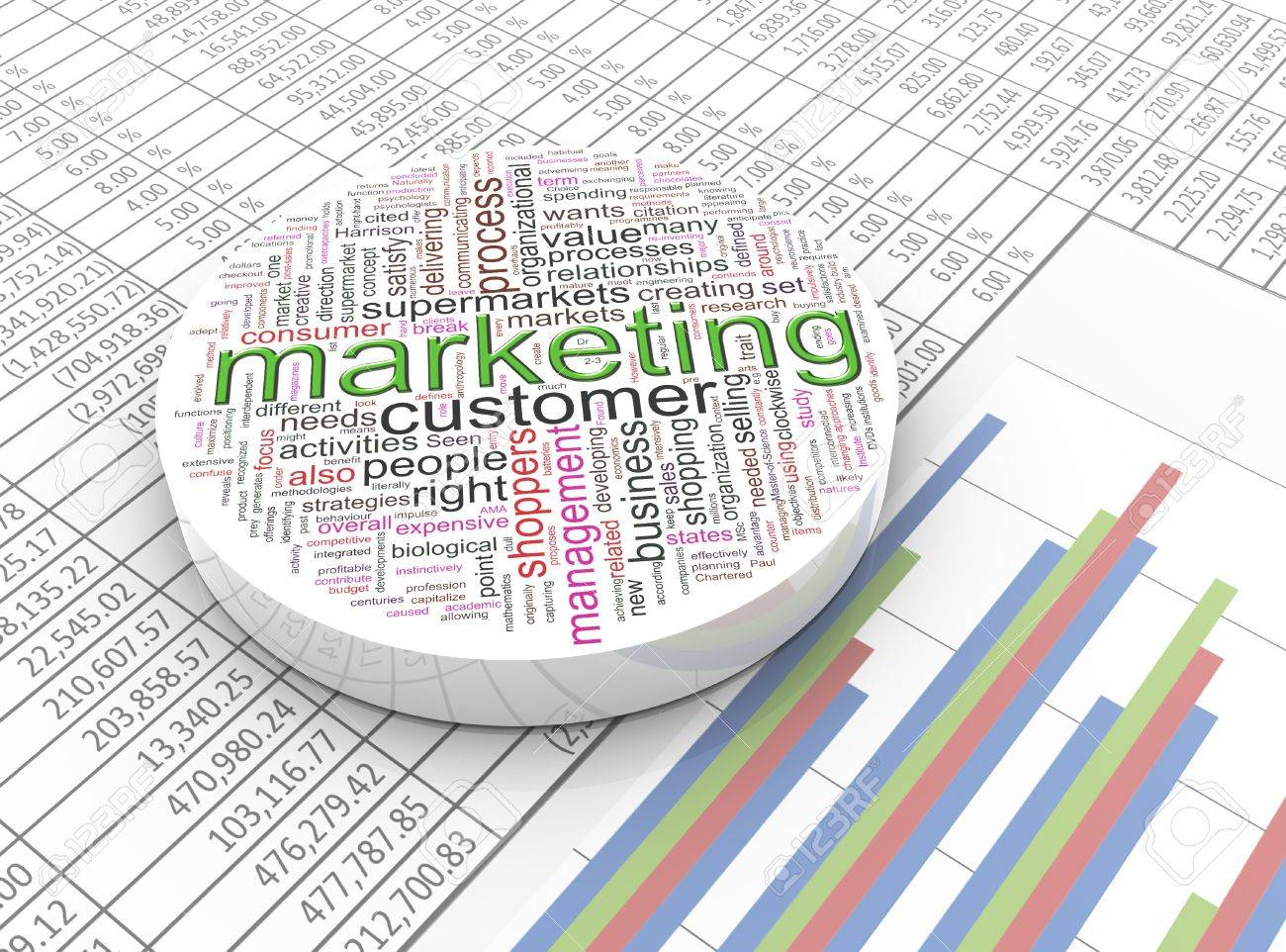 3D Spreadsheet For 3D Marketing Wordcloud On The Background Spreadsheet Stock Photo