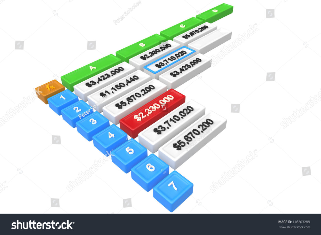 3D Spreadsheet Regarding 3 D Spreadsheet One Cell Selected Stock Illustration 116203288