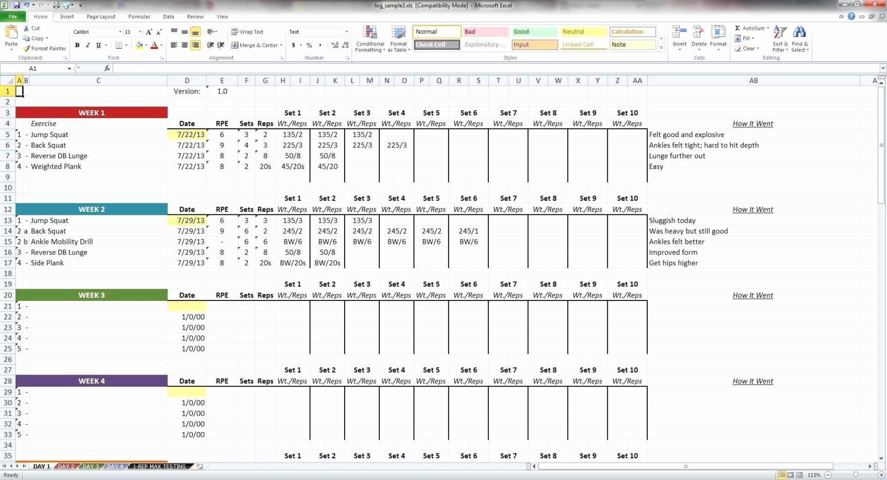 5 3 1 Spreadsheet Intended For Crossfit Programming Spreadsheet Inspirational Wendler 5 3 1