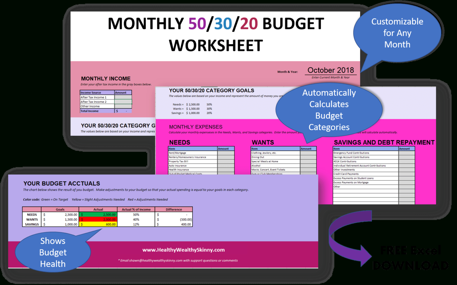 50 30 20 Budget Excel Spreadsheet Pertaining To How To Create A 50/30/20 Budget  2019 Guide  Healthy Wealthy Skinny