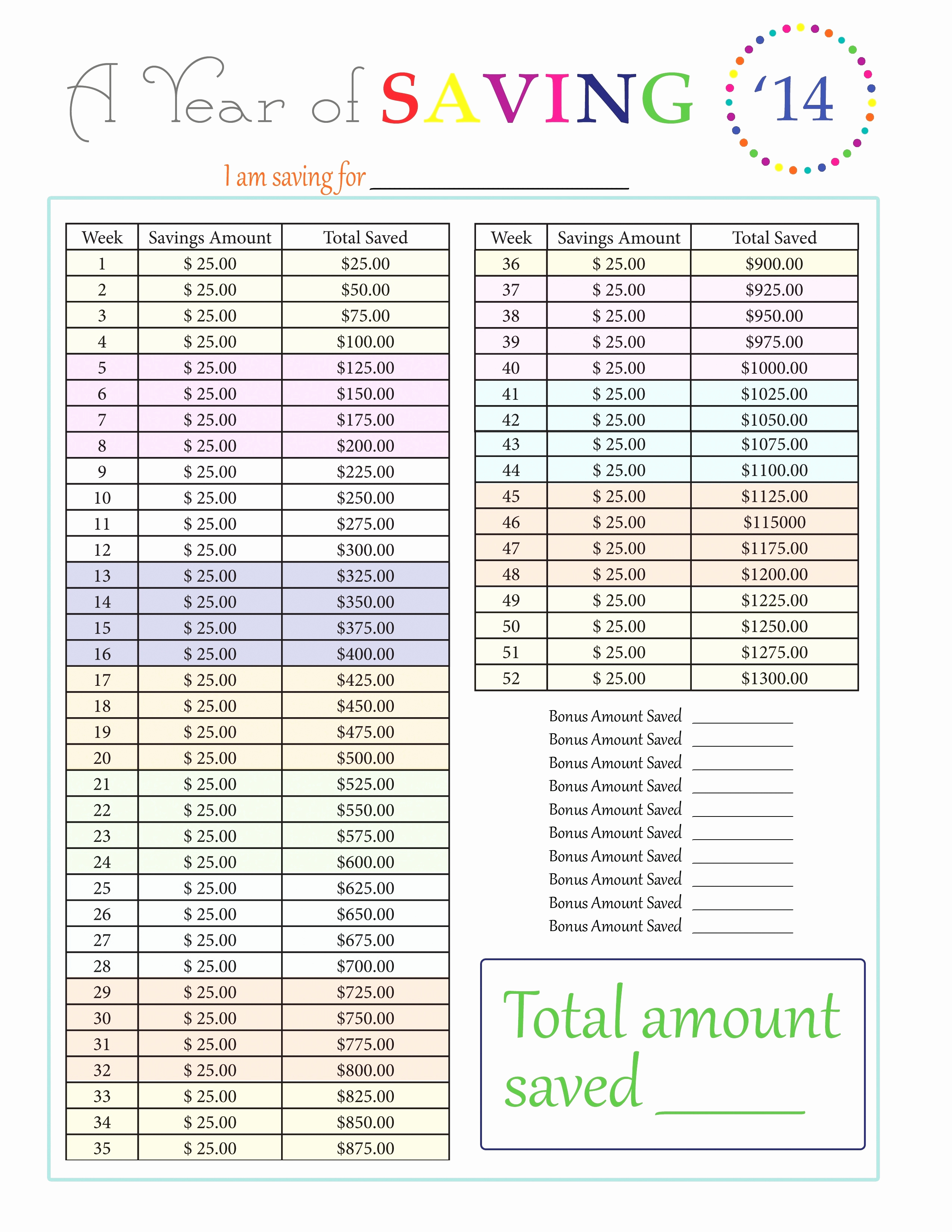 52 Week Savings Plan Spreadsheet For Week Spreadsheet  Okodxx