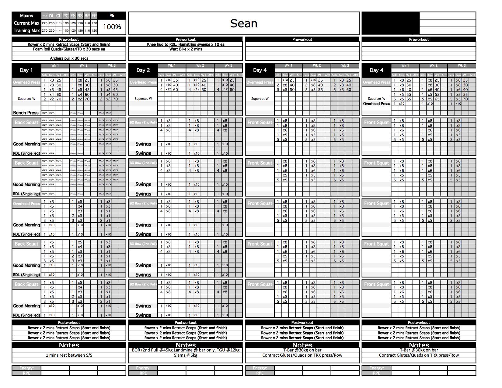 5x5 workout routine spreadsheet  u2013 db