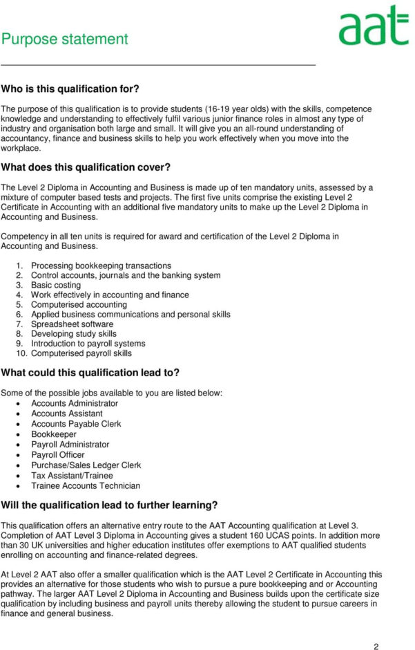 Aat Level 3 Spreadsheets Regarding Aat Level 2 Diploma In Accounting And Business  Pdf