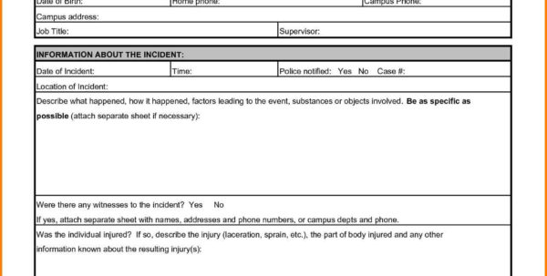 Accident Frequency Rate Spreadsheet Inside Sample Of Incident Report School Template Best Accident Injury Form