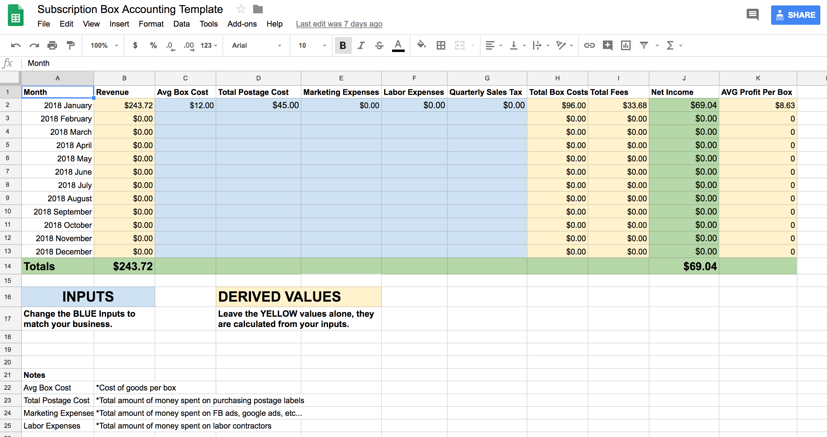 Accounting Spreadsheet Google Sheets Inside Subscription Box Accounting Spreadsheet – Tims.io