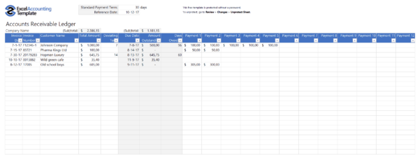 Accounts Payable Spreadsheet Example Regarding Free Accounting Templates In Excel  Download For Your Business