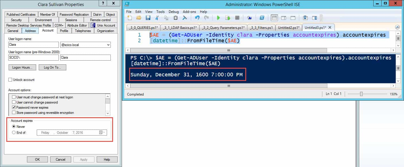 Active Directory User Attributes Spreadsheet Regarding Dealing With The Accountexpires Date In Active Directory  With