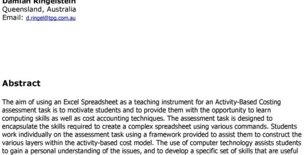 Activity Based Costing Spreadsheet For An Activitybased Costing Assessment Task: Using An Excel