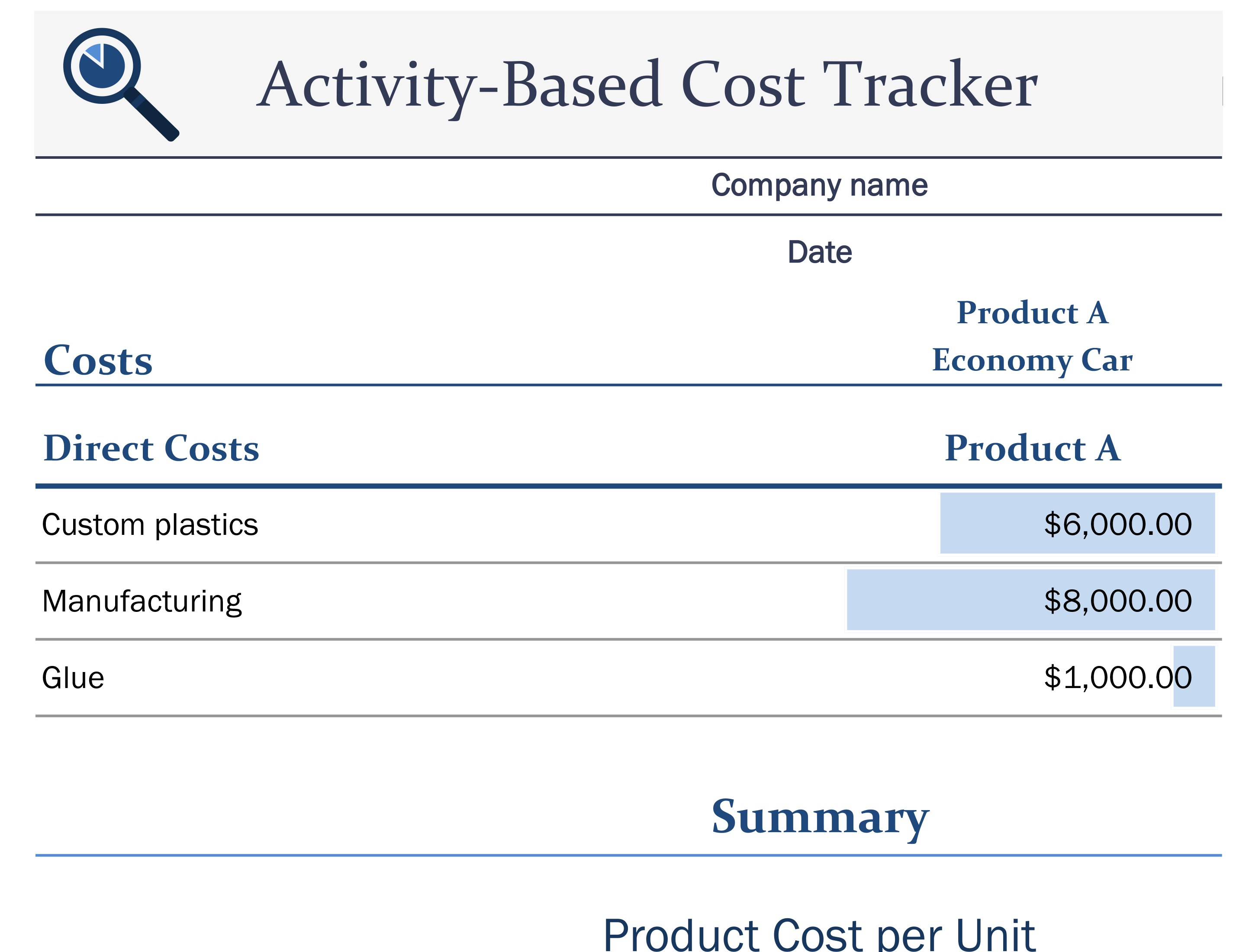 Activity Based Costing Spreadsheet Intended For Activitybased Cost Tracker