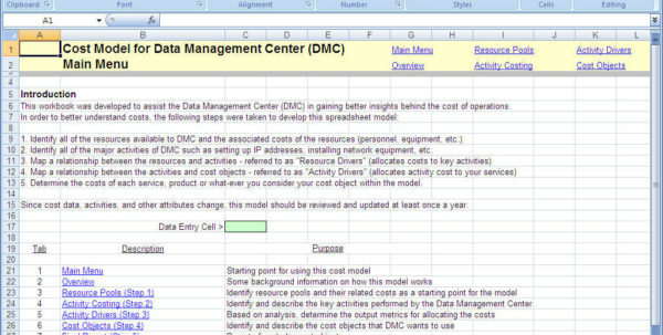 Activity Based Costing Spreadsheet Pertaining To Download Free Simple Abc Model, Simple Abc Model Download