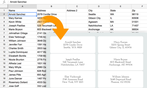 Address Label Spreadsheet Within How To Create Address Labels From An Excel Spreadsheet  Labelsnap Blog
