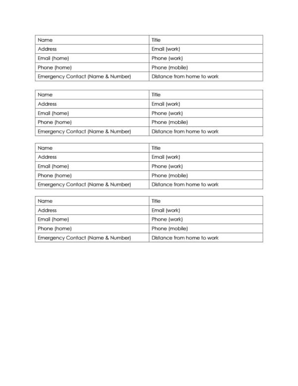 Address Spreadsheet Template Within 40 Phone  Email Contact List Templates [Word, Excel]  Template Lab
