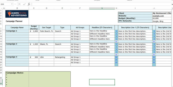 Advertising Spreadsheet Regarding Adwords Ad Planner Spreadsheet  Learn Digital Advertising