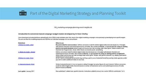 Advertising Spreadsheet With Digital Marketing Planning Spreadsheet  Smart Insights Digital