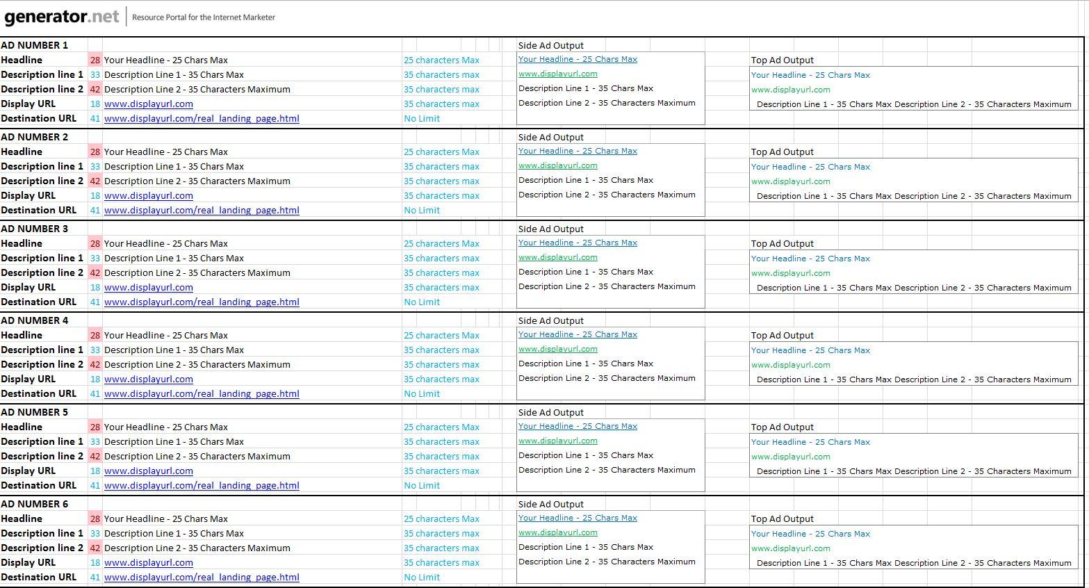 Affiliate Marketing Spreadsheet Inside A Spreadsheet For Building Adwords Copy  Generator