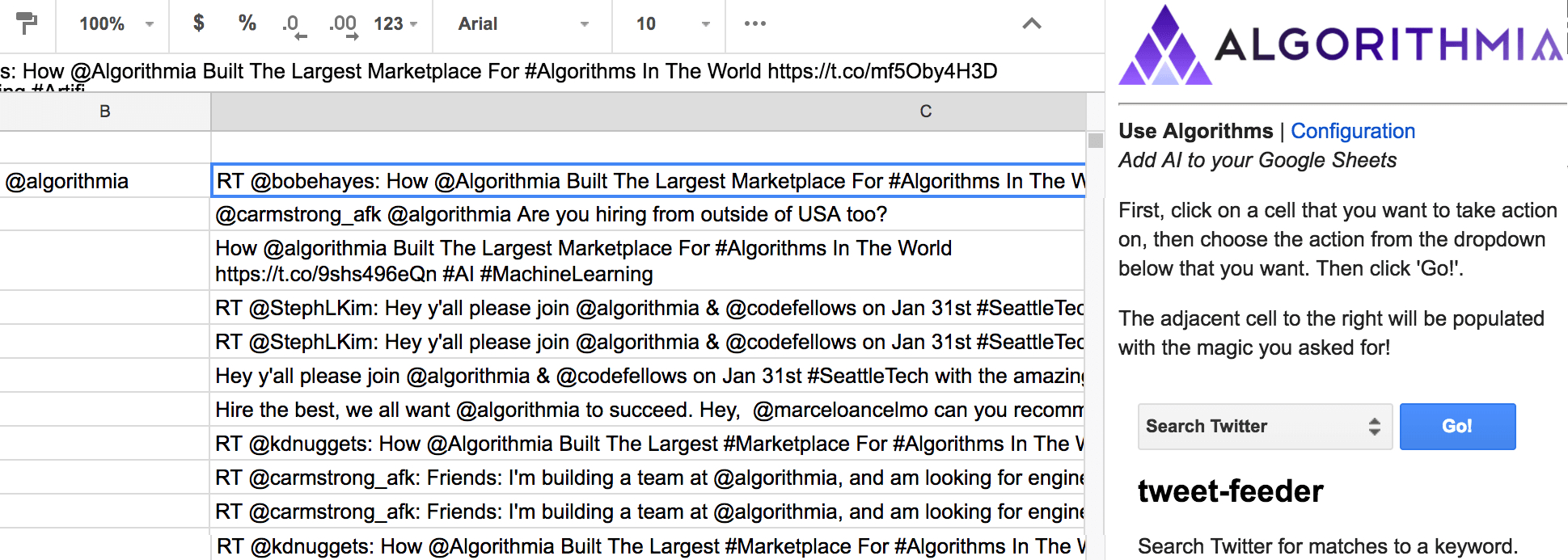 Ai Spreadsheet Regarding Google Sheets   Ai  Algorithmia Blog