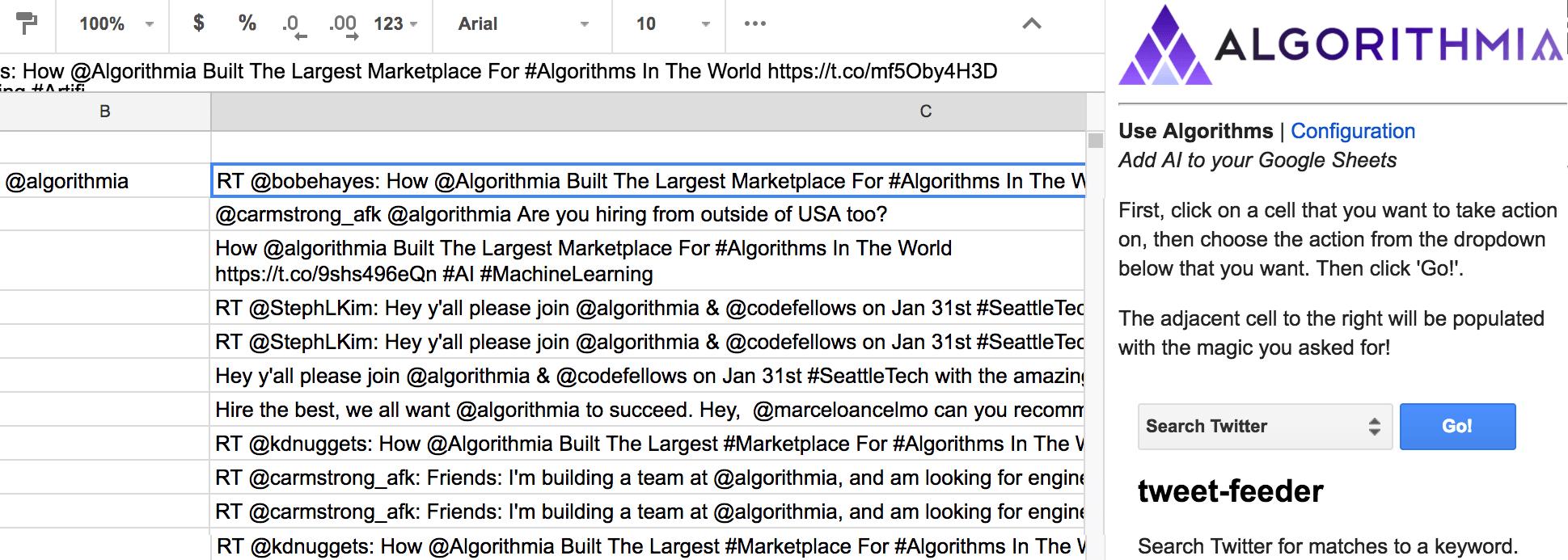 Ai Spreadsheet Regarding Google Sheets + Ai  Algorithmia Blog