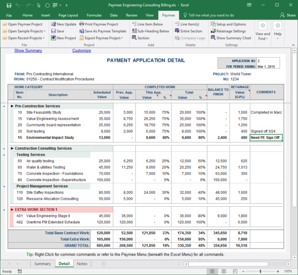 Aia Schedule Of Values Spreadsheet In Payment Application Made Easy For Excel  Free Download And Software