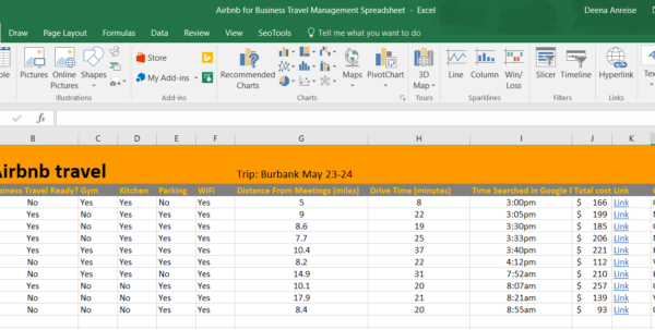 Airbnb Spreadsheet For Overcoming The Pitfalls Of Airbnb For Business Travel Management